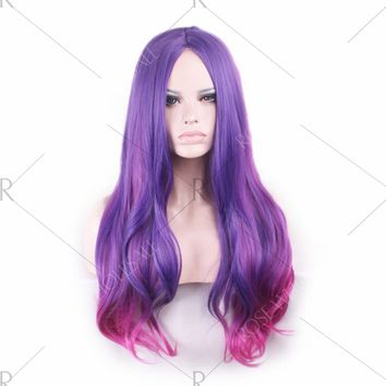 Long Center Parting Colormix Straight Party Synthetic Wig - Fuchsia Rose