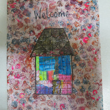 Original Mixed Media Art, Quirky Canvas, Welcome,