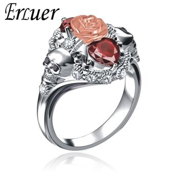 Austrian Crystal CZ Gothic Skull Flower Rose Rings For Women Girls Silver Plated Luxury Jewelry Punk Fashion Gifts Ring