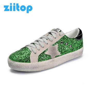 Sneakers Woman Glitter Star Skateboarding Shoes Leather Silver Green Golden Lace Up Vintage Do Old Dirty Shoe Female Sport Shoes
