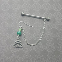 Celtic Trinity Knot - Green Agate & African Jade - Earring attached to an Industrial Barbell