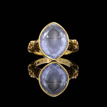 Victorian Ornate Pale Blue Sapphire Gold Bishops Ring
