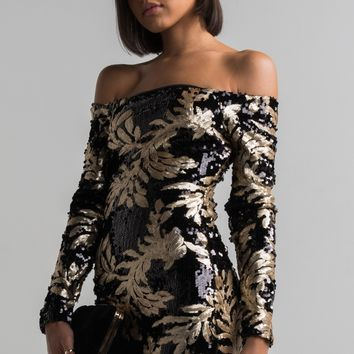 AKIRA Off Shoulder Long Sleeve Sequin Mini Dress in Black Gold