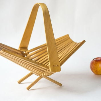 Soviet collapsible basket, wooden fruit basket, modern kitchen basket, vintage folding basket