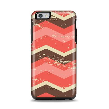The Coral & Brown Wide Chevron Pattern Vintage V1 Apple iPhone 6 Plus Otterbox Symmetry Case Skin Set