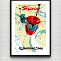 Vintage Tomorrowland Skyway Wall Art Disneyland Attraction Poster Reprint -- Not Framed 18x24 - Buy 2 Get 1 Free!