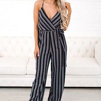 Let Them Know Striped Jumpsuit (Black)