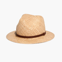 Straw Fedora Hat with Leather Band