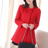 Red Ribbon Pattern Coat