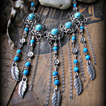 UPCYCLED~Bohemian Turquoise Beaded Necklace~Silver FEATHER Charms~Silver Flower Beads~Silver Chains~Mdogstudios~
