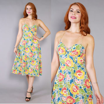 70s FLORAL Cotton SUN DRESS / 1970s Cut-Out Criss-Cross Back Midi Dress