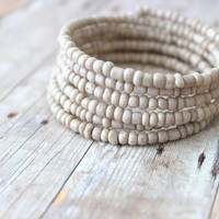 S A N D - Light Sand Beige, Glass Seed Bead, Silver Plated Memory Wire Wrap Bangle Bracelet