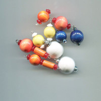 10 wood bead pendants drops mixed lot charms wooden ball tube shapes jewelry