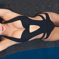 Black Halter Cut Out Bandage Bathing Suit Monokini Push Up Brazilian Swimwear Women One Piece Swimsuit