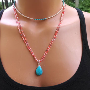 silver seed bead necklace images