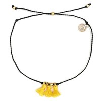 Gold Triple Tassel Anklet Black