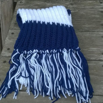 Hand Knit Scarf - Indianapolis Football Fan Scarf - Blue and White - Mens Scarf - Womens Scarf