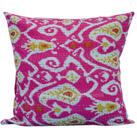"""16"""" Pink Multicolor Paisley Accent Ikat Kantha Stitched Toss Pillow Case on RoyalFurnish.com"""
