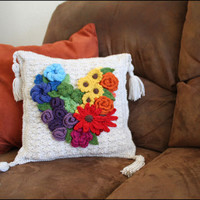 Floral Heart Throw Pillow - CROCHET PATTERN - Flowers Color Wheel, daisy, rose, shell stitch