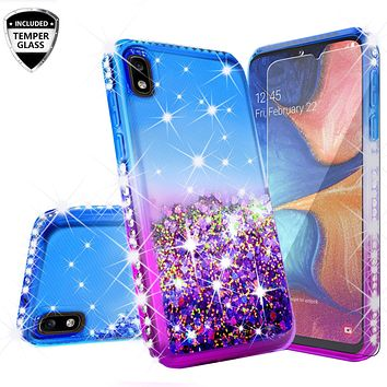 Motorola Moto E6 Case Liquid Glitter Phone Case Waterfall Floating Quicksand Bling Sparkle Cute Protective Girls Women Cover for Motorola Moto E6 W/Temper Glass - (Blue/Purple Gradient)