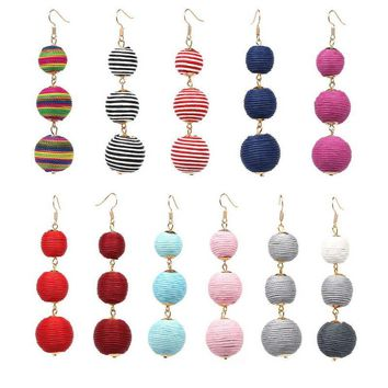 Bon Bon Triple Thread Wrapped Ball Drop Earrings
