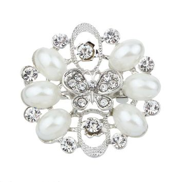 New Fashion All-match Rhinestone Pearl Butterfly Brooch Pin Jewelry