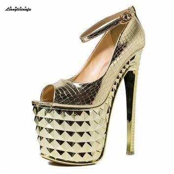 LLXF zapatos Plus:34-39 Summer platforms Sandals 20cm High-heeled Shoes woman Stiletto Peep Toe Gold/Sliver Ankle Strap Pumps