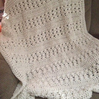 Off white lap blanket crochet afghan in ecru. Made to order custom colors available. wedding gift