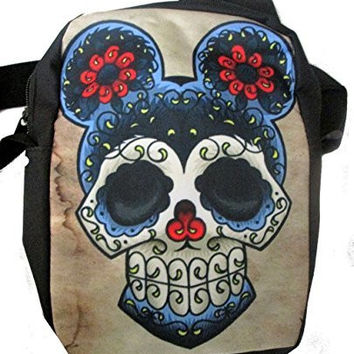 Sugar Skull Mouse on a Messenger Bag/ Purse / School Bag, Adjustable Strap