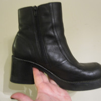 Vintage 90s Black Leather Chunky Heel Platform Ankle Boots 9.5
