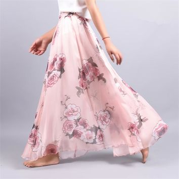 Summer New Fashion Vintage Bohemia Chiffon Floral Printed Women Boho Floor-Length Long Maxi Beach Party Loose Flare Skirt  312