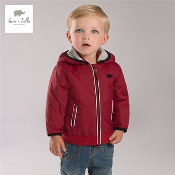 DB4140 davebella  autumn boutique baby  boy hooded coat babi red outerwear baby clothes baby boy plum outerwear