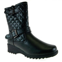 Women's First Sight Quilted Calf High Winter Snow Boots Canada-04 Black