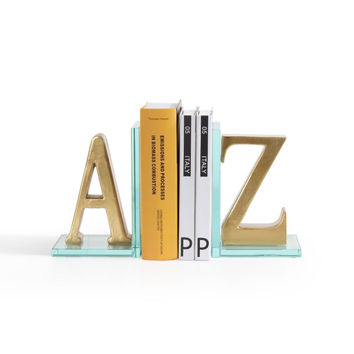 DanyaB Gold A to Z Glass Bookends