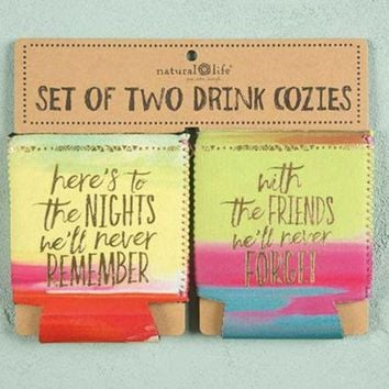 DCCKGE8 Here's to Nights Set of 2 Can Koozies