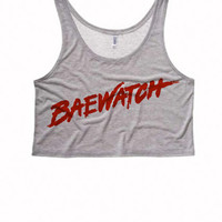 Womens Boxy Crop Top | Baewatch Boxy Crop Top | Bae Racer Back Tanks | Boxy Crop Top Tank Baewatch Beach Tank | Spring Break Womens Crop Top