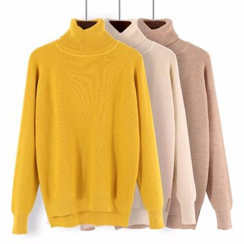 GIGIGO Loose Turtleneck Women Autumn Winter Sweater Thick Warm Pullover and Sweater Soft Long Sleeves Jumper Femme Pull