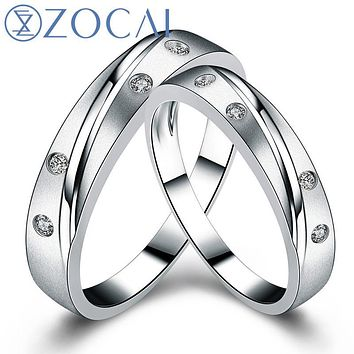 ZOCAI REAL GENUINE DIAMOND 0.08CT CERTIFIED I-J/SI DIAMOND HIS AND HERS WEDDING BAND SETS ROUND CUT 18K White GOLD Q00951A