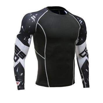 Mens Fitness Long Sleeves Rashguard T Shirt Men Bodybuilding Skin Tight Thermal Compression Shirts MMA Crossfit Workout Top Gear