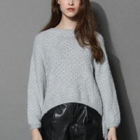 Fluffy Grey Sweater with Tasseled Sleeves
