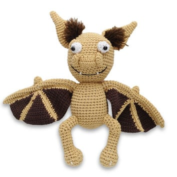 Cream-Brown Bat Handmade Amigurumi Stuffed Toy Knit Crochet Doll VAC