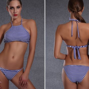HOT BELLYBAND STRIPE TWO PIECE BIKINIS