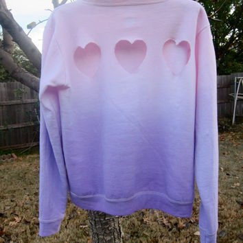 Triple Heart Cut-out Back Pastel Pink and Purple Ombre Dip-Dyed Light Fleece Sweatshirt Valentine's Day
