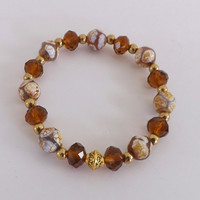 Laurel Brown And White Agate Bracelet