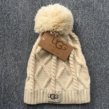 DCCKHQ6 UGG Autumn Winter New Knit Women Men Warm With Small Ball Cap Hat Beige