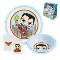 Superman Plate, Bowl And Cup 3-Piece Kids Set