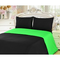 Tache 2-3 Piece Cotton Solid Lime Green / Black Reversible Duvet Cover Set (TADC32PC-GB)