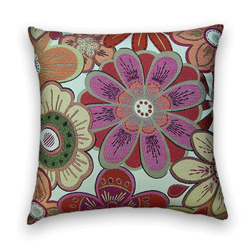 Floral Decorative Pillow Cover- 20x20--Throw Pillow--Gorgeous Colors-Orchid,  Orange, Green and Rust.