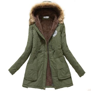 2018 women winter jacket hooded with fleece warm female coat fur collar 12 colors cotton padded outwear jaqueta feminino
