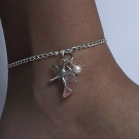 Pink Sea Glass Anklet with Starfish